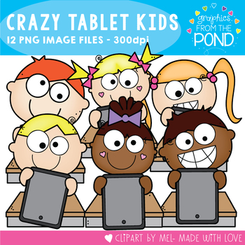 Crazy Tablet Kids Clipart