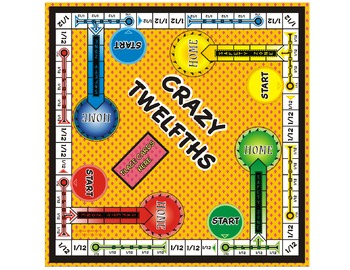 Crazy Twefths! Fraction Board Game (play it just like the board game Sorry)