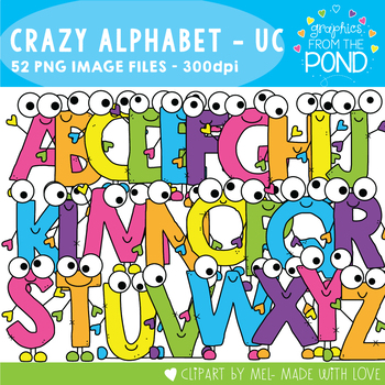 Crazy Uppercase Alphabet Cuties Clipart Set