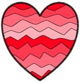 Crazy Wave Hearts - 14 Shades PNG Clip Art ~ No Credit Needed