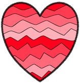 Crazy Wave Hearts - 14 Shades PNG Clip Art ~ No Credit Needed