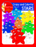 Crazy and Colorful Stars Clipart