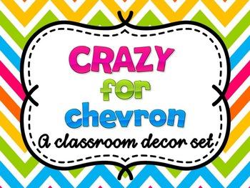 Chevron Decor Set: Editable with matching teacher binder