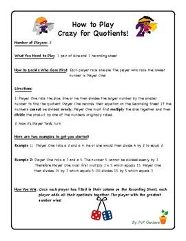 Crazy for Quotients! A No-Prep Division Dice Game