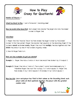 Crazy for Quotients! A No-Prep Division Dice Game