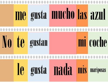Creador de oraciones en Español / Sentences builder in Spanish
