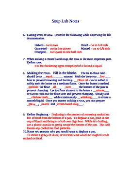 Cream Based Soup Lab Notes