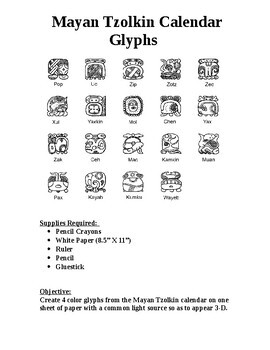 Create 4 Mayan Tzolkin Calendar Glyphs in 3-D