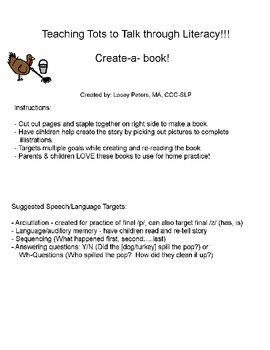 Create-A-Book: speech, articulation, p, final consonant deletion