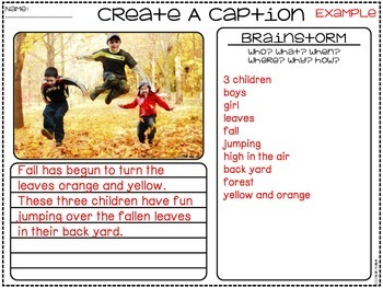 Create A Caption Activities & Printables {Writing with Real Life Pictures}