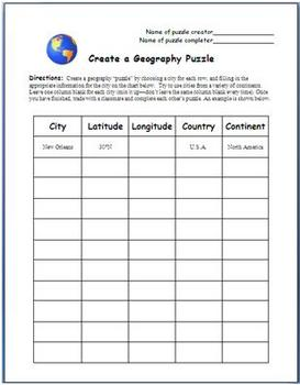 Create a Geography Puzzle