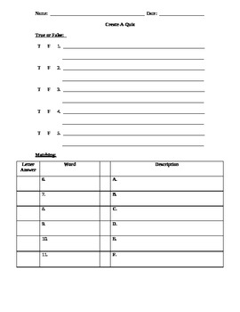 Create-A-Quiz outline (use in all subjects)