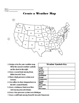 Create A Weather Map Worksheet.Weather Map Worksheet Teaching Resources Teachers Pay Teachers