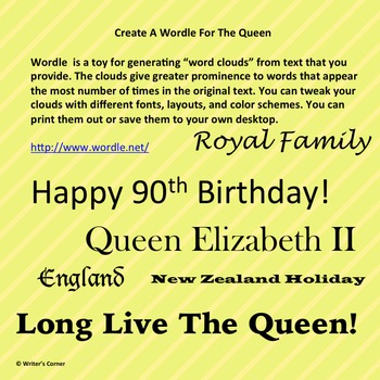 Create A Wordle For The Queen, Fun Stuff, Substitute Plan
