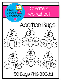 Create Your Own Worksheets - Addition Bugs Clipart