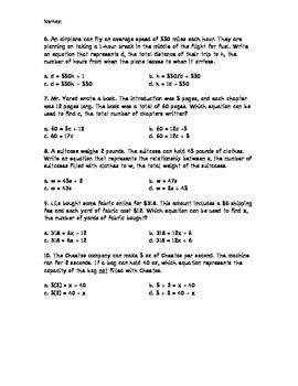 Create Algebraic Expressions Practice
