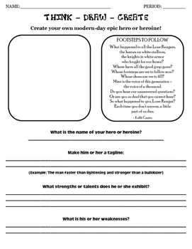 Create An Epic Hero Worksheet