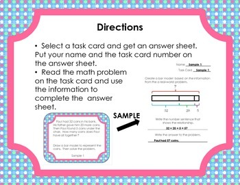 Create Bar Models based on Real-World Math Problems - Task Cards