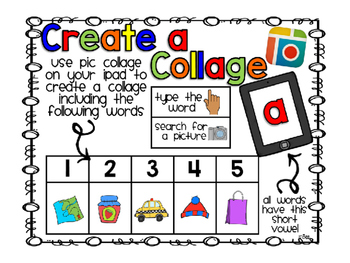 Create CVC Collages using iPad app Pic Collage