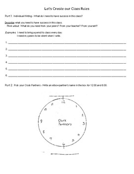 Create Class Behavior Rules for Social Contract Activity for Back To School