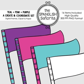 Create & Coordinate Set #1: Teal + Purple + Pink {Clip Art for Commercial Use}