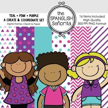 Create & Coordinate Set #1: Teal + Purple + Pink {Clip Art