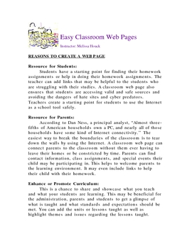 Create Easy Classroom Web Pages, No Software and Free