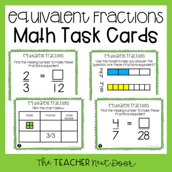 Create Equivalent Fractions Task Cards for 3rd Grade