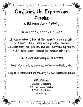 Create Expression from Word Problem Halloween Puzzles 6.EE.A.2,6.EE.B.6,5.OA.A.2