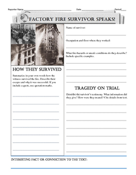 Create Newspaper Headline for Factory Fire Survivor