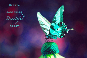 """Create Something Beautiful Today""-Inspirational Butterfly Poster for Classrooms"