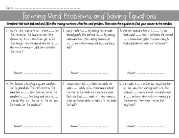 Create Word Problems & Solve Equations w/ Variables