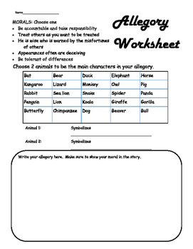 Create Your Own Allegory Worksheet