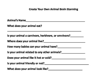 Create Your Own Animal Writing and Brainstorming