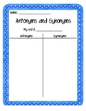 'Create Your Own' Antonym and Synonym Worksheet