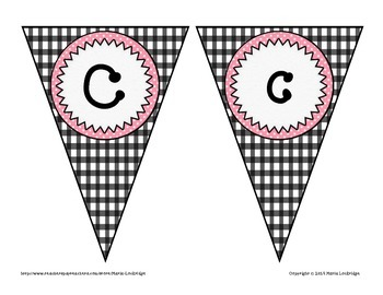 Create Your Own Banner: Pendant Alphabet and Number Set (Pink and Black)