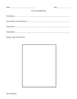 Create Your Own Baseball Team (writing and craft project)- FREEBIE