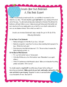 Create Your Own Bookmark / A Mini Book Report { Back to School }