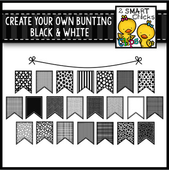 Create Your Own Bunting - Black and White