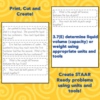 Create Your Own Capacity and Weight Problem Solving 3.7E