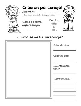 Create Your Own Character- Lucy Caulkins Character/Series writing in SPANISH