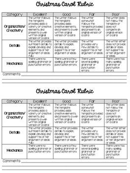 Christmas Carol Writing Activity