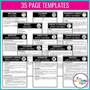 Create Your Own Class Handbook Templates | Editable