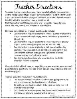 Create Your Own Classroom Scavenger Hunt - A Back to School Activity
