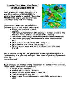 Create Your Own Continent Journal Assignment