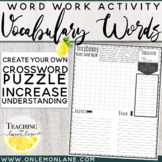 Create Your Own Crossword Puzzle Vocabulary Word Any Subject