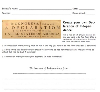 Create Your Own Declaration Homework