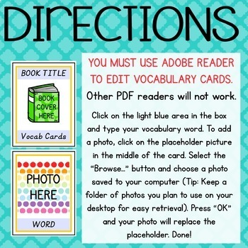 Create-Your-Own EDITABLE Picture Vocabulary Cards Italics
