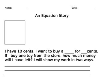 Create Your Own Equation Story Editable (Word Problem) Common Core