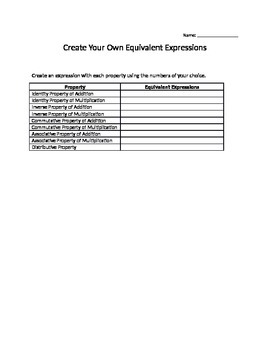 Create Your Own Equivalent Expressions